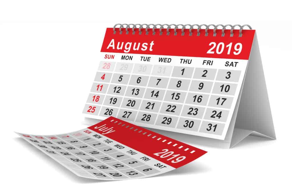 August Class schedule